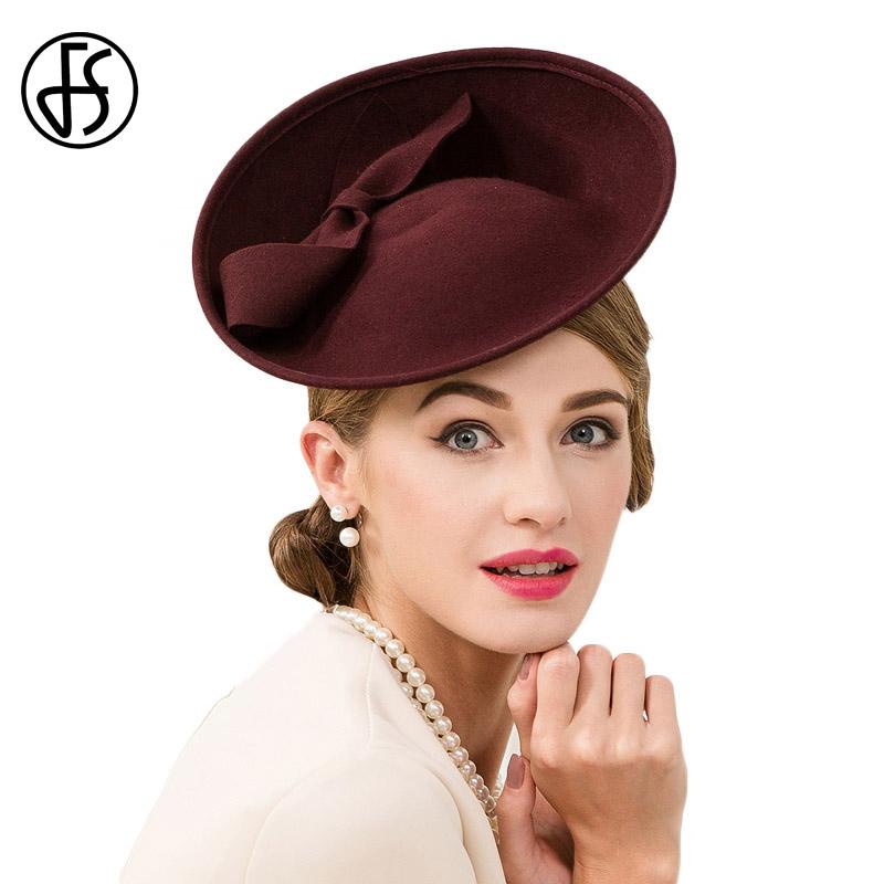 FS 100% Wool Women Cocktail Hats Fascinator Wine Red Pillbox Hat Ladies For Wedding Bow British Church Derby Fedora Chapeau 1
