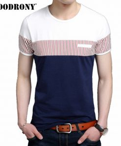 COODRONY Cotton T Shirt Men Summer Brand Clothing Short Sleeve T-Shirt Fashion Striped Gentleman Top O-Neck Tee Shirt Homme 2249