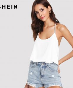 SHEIN White Sexy Boho Bohemian Bow Embellished Open Back Solid Plain Cami Camisole Streetwear Summer Tops for Women Halter Top  1
