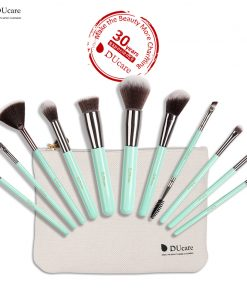 DUcare 11PCS Makeup Brushes Set Professional Light Green Handle Make Up Brush Powder Foundation Angled Eyeliner Brush with Bag