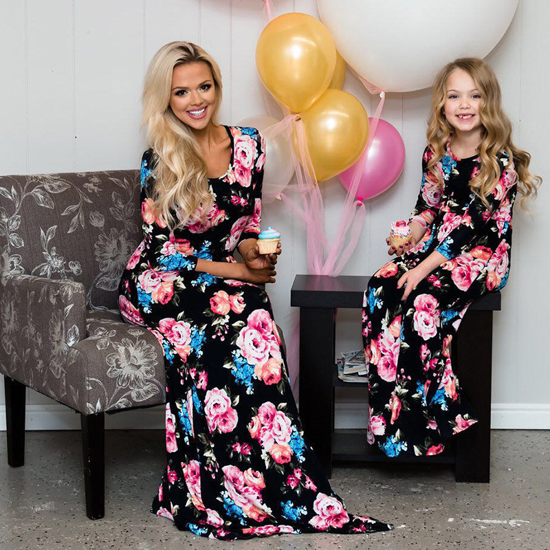 mother daughter dresses summer feja brand 2018 mom and daughter dress clothes family matching outfits long dresses large size