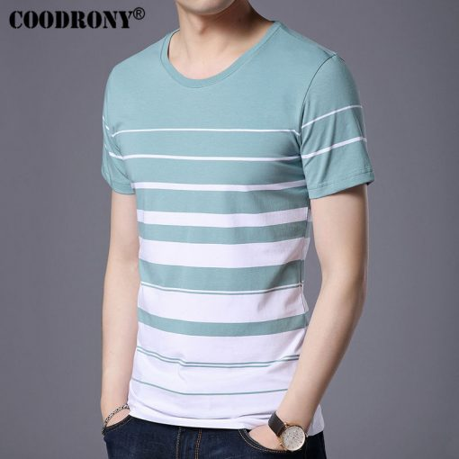 COODRONY Pure Cotton Short Sleeve T-Shirt Men Brand Clothing 2017 Spring Summer New Fashion Striped Print O-Neck Tee Shirt S7633 1