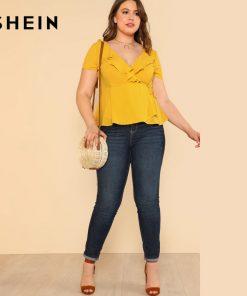 SHEIN Yellow Plus سایز Ruffle V Neck Wrap Top Blouse Women Clothings Summer Top Large سایز Elegant Slim Solid Plain Blouse 1