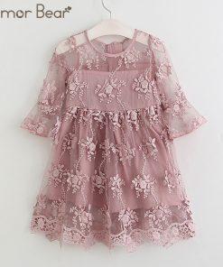 Humor Bear Girl Ball Gown Dress 2018 Toddler Girl Summer A-Line Lace Dress Princess Birthday Party Dress