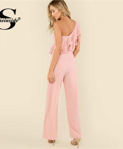 Sheinside Pink Ruffle Tiered One Shoulder Jumpsuit Plain High Waist Office Ladies Workwear Women Summer Elegant Jumpsuit 1