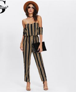 Sheinside Flounce Layered Neck Striped Jumpsuit 2018 Off The Shoulder Short آستین Sexy Jumpsuit Women Elegant Party Jumpsuit