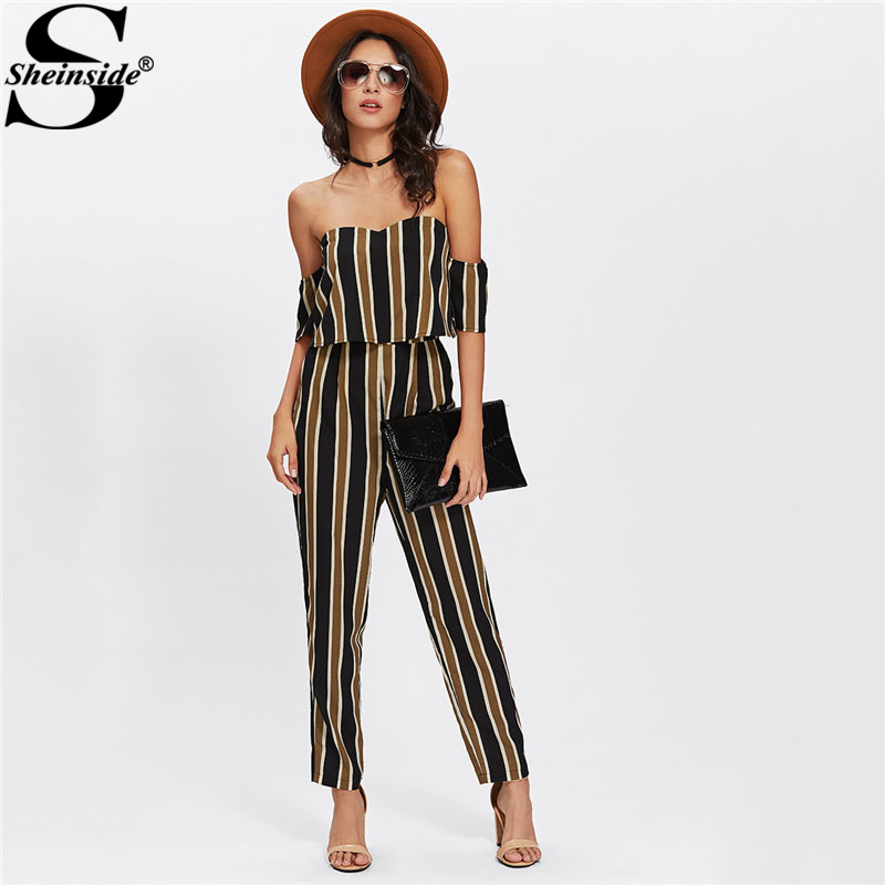 Sheinside Flounce Layered Neck Striped Jumpsuit 2018 Off The Shoulder Short آستین Sexy Jumpsuit Women Elegant Party Jumpsuit