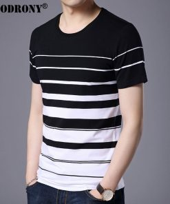 COODRONY Pure Cotton Short Sleeve T-Shirt Men Brand Clothing 2017 Spring Summer New Fashion Striped Print O-Neck Tee Shirt S7633