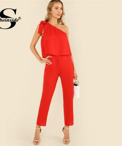 Sheinside Red Tied One Shoulder Jumpsuit Ruffle Embellished Sleeveless Office Ladies Workwear Women Summer Elegant Jumpsuit