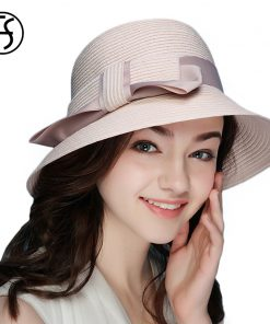 FS 2018 New Summer Fashionable Straw Hat For Women Wide Brim Floppy Sun UV Beach Hats Pink Foldable Sombreros