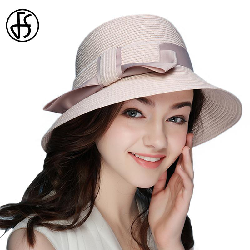 FS 2018 New Summer Fashionable Straw Hat For Women Wide Brim Floppy Sun UV Beach Hats Pink Foldable Sombreros