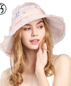 FS 3 Colors Sun Hats for Women High Quality Silk Beach Hats Women Breathable Adjustable Head Circumference Summer Cap