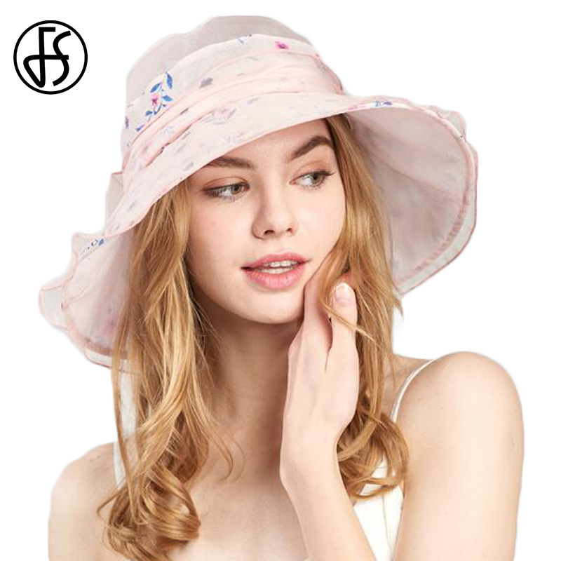 FS 3 Colors Sun Hats for Women High Quality Silk Beach Hats Women Breathable Adjustable Head Circumference Summer Cap