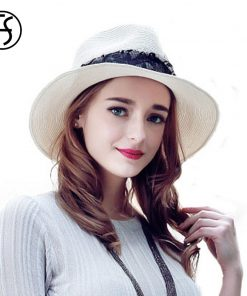 FS Summer Hats For Women White Sun Panama Hats Ladies With Lace Fedora Beach Uv Protect Wide Brim Straw Jazz Cap Sombreros Paja