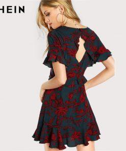 SHEIN Floral Women Dress Multicolor Short آستین Deep V Neck Ruffle Hem A Line Dress Open Back High دور کمر Frilled Dress 1
