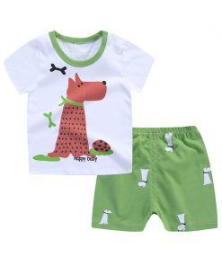 Cartoon Baby Boy Clothes Summer 2018 Newborn Baby Boy Clothes Set Cotton Baby Girl Clothing Suit Shirt+Pants Infant Clothes Set 1