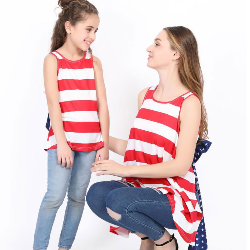 mommy and me family clothes 2018 sleeveless mother and daughter matching clothes summer Striped National flag Bow tie dresses