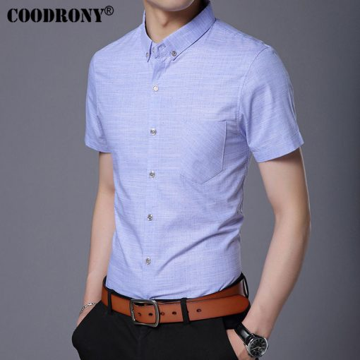 COODRONY Pure Cotton Casual Shirt Men Brand Clothing 2017 Summer New Arrival Solid Color Short Sleeve Slim Fit Shirt Homme S7702 4