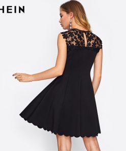 SHEIN Guipure Lace Yoke Scallop Hem Flare Dress Black Sleeveless Round Neck Elegant A Line Dress Sexy Woman Dresses 1