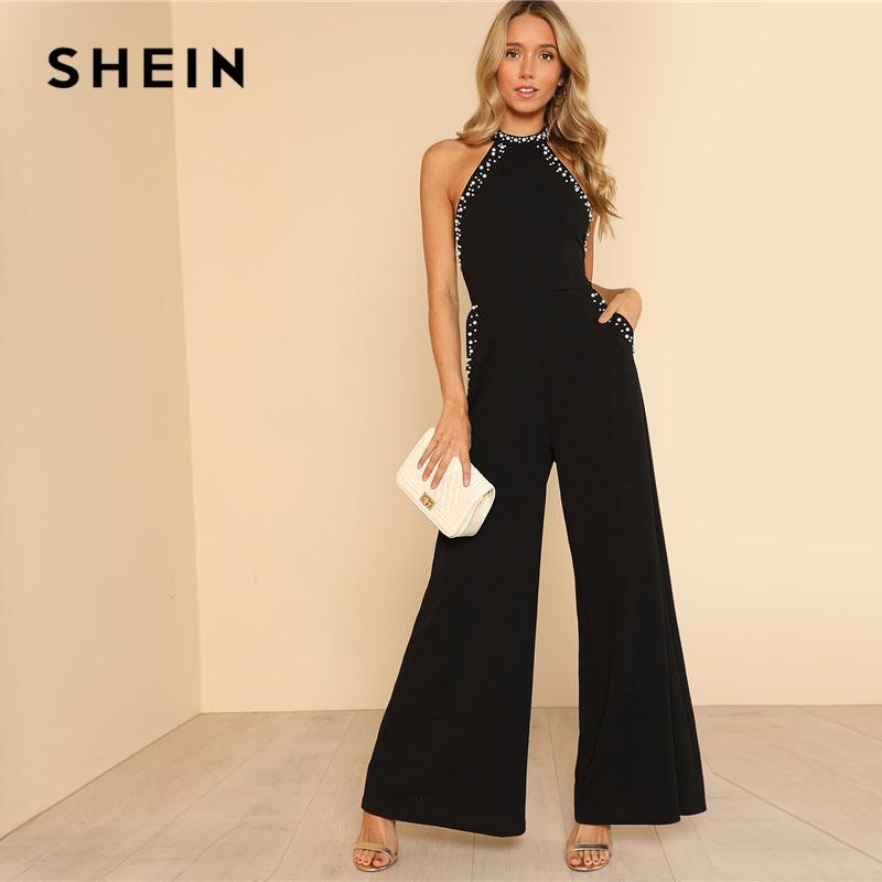 SHEIN Pearl Embellished Backless Halter Wide Leg Party Jumpsuit Black Sleeveless High دور کمر Plain Maxi Women Elegant Jumpsuit
