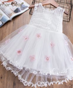Humor Bear Baby Girls Embroidery Dress 2018 Girl Dress Summer 3D Flowers Design Princess Birthday Party Dress   1
