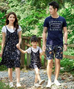 Mother daughter dresses Matching Family Clothing 2018 Summer Style Father Son T-shirt Short Pant Fashion Family Clothes Set 1