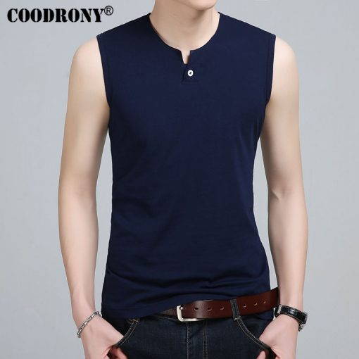 COODRONY Slim Fit Tank Top Men Sleeveless T Shirt Men 2017 Spring Summer New Arrival Cotton T-Shirts Button Henry Collar T S7652 4