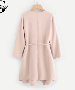 Sheinside Waterfall Collar Pocket Front Wrap Work Wear Trench Peach 3/4 Sleeve Apricot Knee Length With Belts Office Women Coat 1