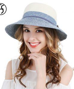 FS Ladies Wide Brim Beach Visor Blue Green Womens Foldable Sun Straw Hats Ribbon Summer Fashion Floppy Uv Protect Cloche Hat