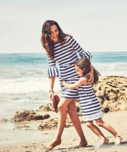 Popular Style 2018 New  Mother Daughter Dresses Striped Mommy and Me Dresses Clothes Mummy Baby Family Matching Outfits Sets 1