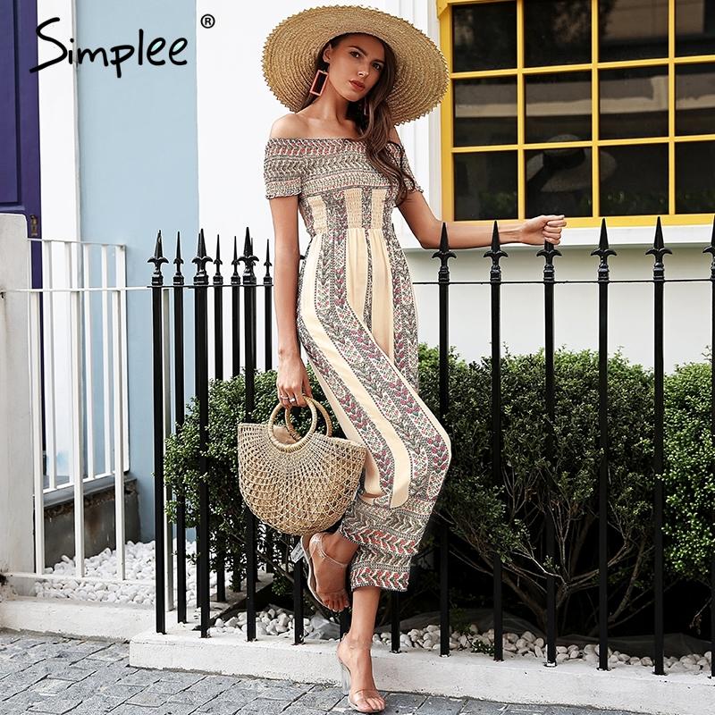 Simplee Off عرض شانه ethnic print jumpsuit romper women Smocking wide leg jumpsuit summer Streetwear casual jumpsuit macacao 1