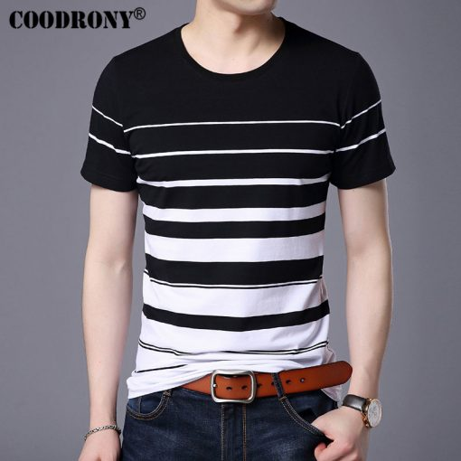 COODRONY Pure Cotton Short Sleeve T-Shirt Men Brand Clothing 2017 Spring Summer New Fashion Striped Print O-Neck Tee Shirt S7633 3
