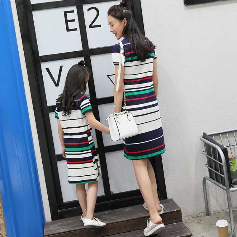 mother daughter dresses Striped 2018 new cotton embroidery feja brand mom and daughter clothes summer Casual short sleeve girl 1