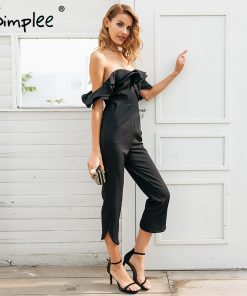 Simplee Sexy off عرض شانه backless black jumpsuit women Tiered ruffle high waist jumpsuit romper Pocket casual overall female
