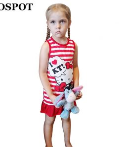COSPOT Girls Hello Kitty Dress Baby Girl Clothes Summer Sleeveless Dresses Girls Dress Clothes Striped Red Pink 2018 New 50E