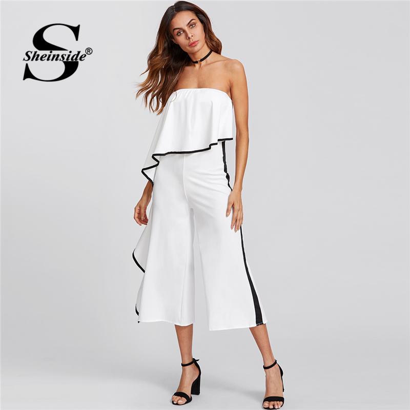 Sheinside Contrast Trim Frill Strapless Jumpsuit 2018 Summer Ruffle Sleeveless Party Jumpsuit Women White Plain Skinny Jumpsuit