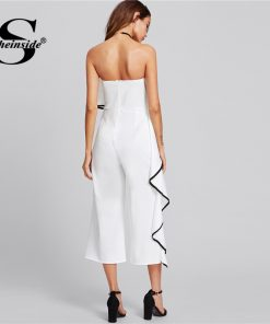 Sheinside Contrast Trim Frill Strapless Jumpsuit 2018 Summer Ruffle Sleeveless Party Jumpsuit Women White Plain Skinny Jumpsuit  1