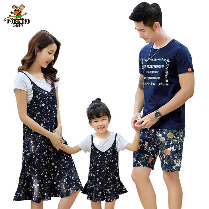 Mother daughter dresses Matching Family Clothing 2018 Summer Style Father Son T-shirt Short Pant Fashion Family Clothes Set