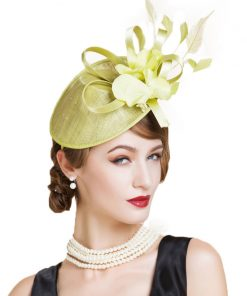 FS Elegant Green Party Cocktail Hats For Women Fascinator Derby Flowers Ladies Red Pillbox Hat Linen Fedora Chapeau Femme Feutre 1