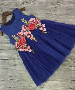 Humor Bear Girls Dresses 2018 Summer Style Girls Clothes Sleeveless Embroidery Design for Child kids Princess Dress 1