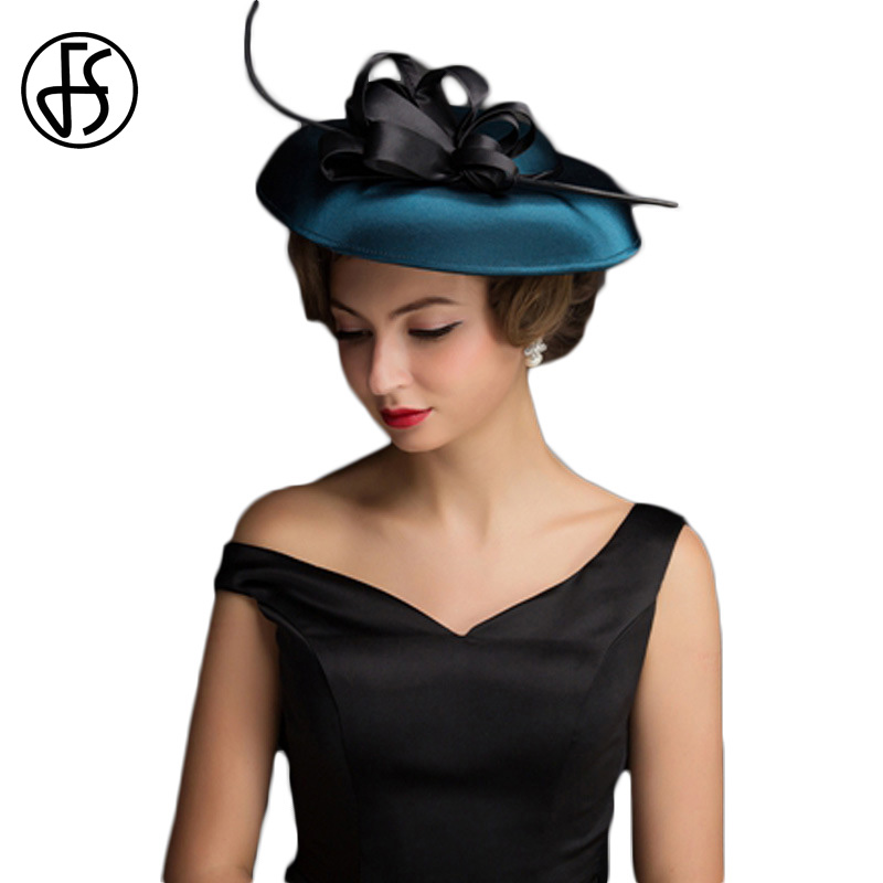 FS Party Wedding Hats and Fascinators Fedora Linen Blue Kentucky Derby Church Hats Classic Fedoras Black Floral