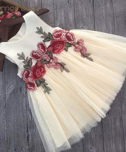 Humor Bear Girls Dresses 2018 Summer Style Girls Clothes Sleeveless Embroidery Design for Child kids Princess Dress