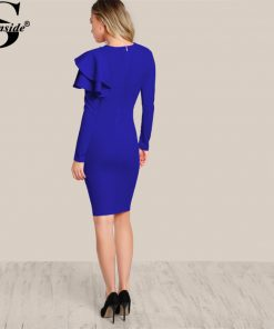 Sheinside One Side Tiered Ruffle Trim Winter Dress 2017 Round Neck Long Sleeve Zip Party Dress Ladies Elegant Bodycon Dress 1