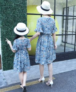 mother and daugther dress 2018 new mother & kids clothes mother and daughter matching dresses family look mom daughter clothes 1