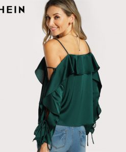SHEIN Lace Up Silk Blouse آستین Flounce Top Woman Blouses 2017 Autumn Green Spaghetti Strap Ruffle Long آستین Party Blouse 1