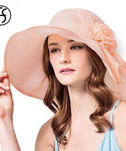 FS Women Flower Sun Hat Summer Large Wide Brim Outdooor Foldable Casual Fashion Beach Hats Elegant Ladies Floppy Visor Cap