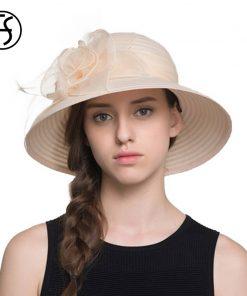 2017 Elegant Fashion Women Church Hats For Summer Flower Hat Summer Sun Hat Panama Wide Brim Beach Cappello Donna