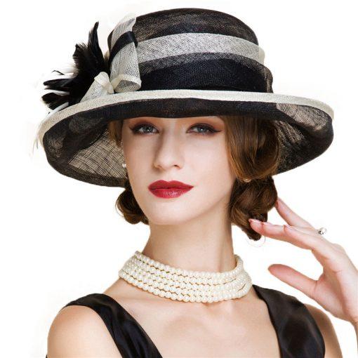 FS Fascinator Black Large Wide Brim Linen Fedora Vintage Floral Hat Summer Womens Church Kentucky Derby Hats 2