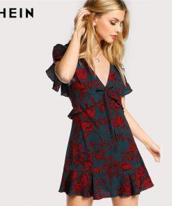 SHEIN Floral Women Dress Multicolor Short آستین Deep V Neck Ruffle Hem A Line Dress Open Back High دور کمر Frilled Dress