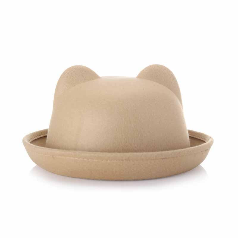 FS Europe England Fall Winter Women Fedoras Caps For Woman Lady Curl Brim Wool Felt Cute Ear Hat Keep Warm More Fashion 1